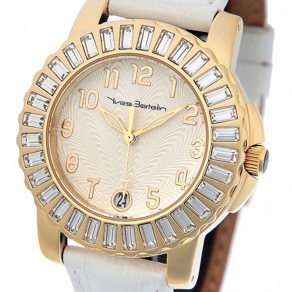Dámské zlaté hodinky Yves Bertelin s bílým koženým řemínkem a kamínky