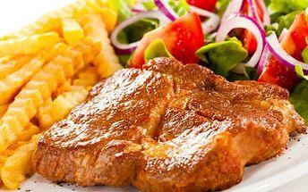 Šťavnatý steak PRO DVA! Vychutnejte si steak, přílohu i dresing - vše dle vlastního výběru!