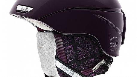Tmavě fialová dámská lyžařská helma Smith s vnitřním fleecem