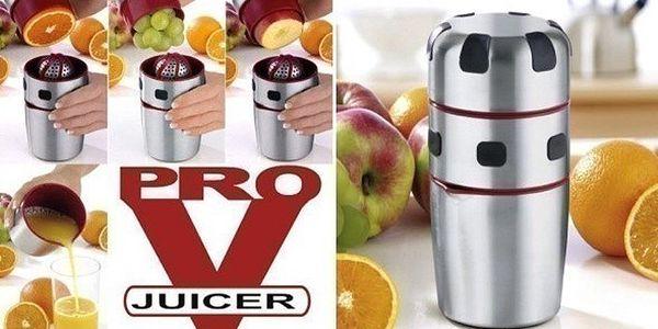 Pro V Juicer odšťavňovač na ovoce a zeleninu s nerezovou zdobící sadou.