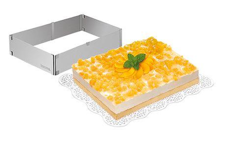 Nastavitelná forma na dort obdélníková DELÍCIA. Vyrobeno z prvotřídní nerezavějící oceli.