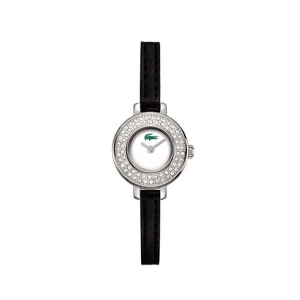 Dámské hodinky Lacoste s kamínky a černým řemínkem