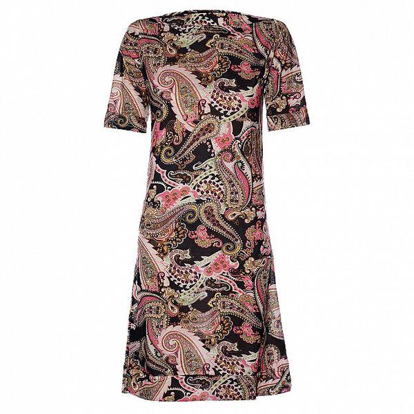 Dámské černé strečové šaty Hope s pestrobarevným vzorem