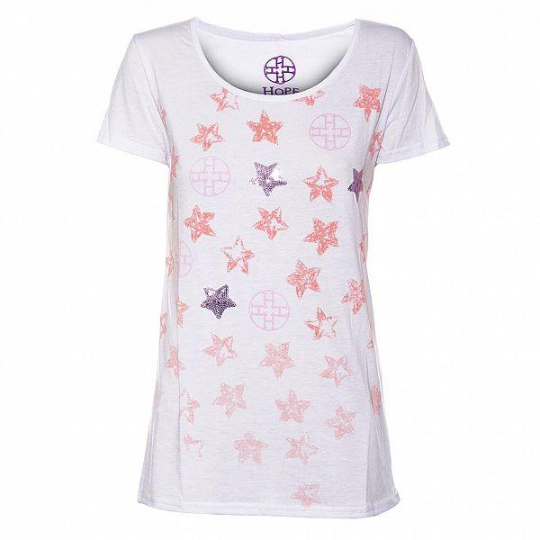 Dámské světle růžové tričko Hope s potiskem a flitry