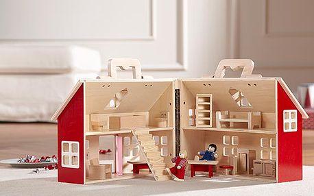 Dřevěný dům pro panenky. Rozvíjí fantazii a komunikační schopnosti. Originál z Tchibo.