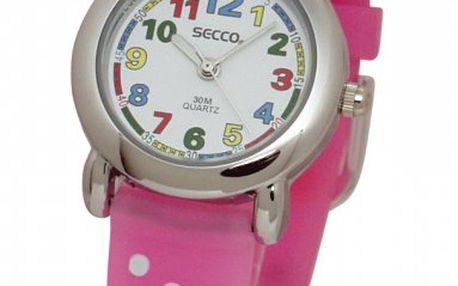 Roztomilé dívčí hodinky Secco S K103. Hodinky mají minerální sklo, bateriový strojek Quartz a jsou vodotěsné.