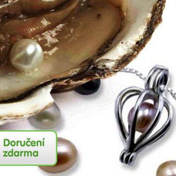 Perla přání z perlorodky s náhrdelníkem – dvoukarátová perla o velikosti 5–8 mm