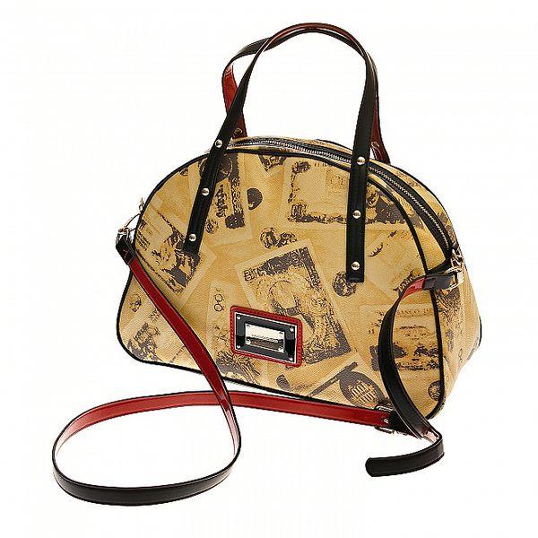 Dámská béžová kabelka Roccobarocco s tmavě hnědým retro potiskem
