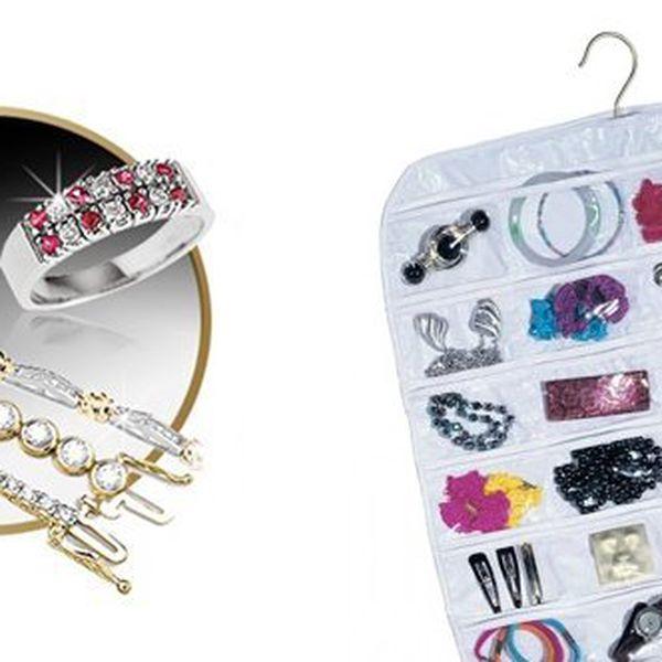 Závěsný organizér na šperky bílý se 72 kampsami! Jednoduše pověsíte na ramínko do skříně s oblečením nebo na dveře!