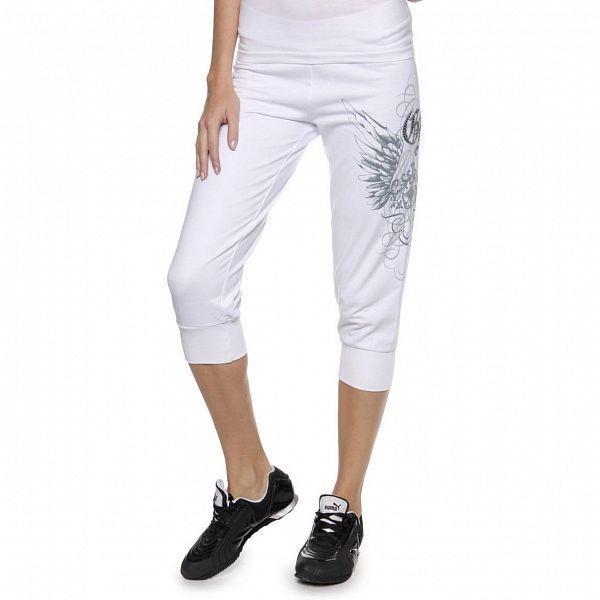 Dámské bílé tříčtvrteční kalhoty Guess s potiskem