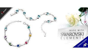Darujte své milované šperk, který si zaslouží! Přerozkošný náramek pozlacený bílým zlatem pro každou příležitost s krystaly Swarovski Crystallized v 5 barevných provedeních ve stylu kolo štěstí! Poštovné a balné v ceně! Sleva 61%!!!