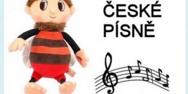 Plyšák Brumda hrající 2 české písně. Na políčku v jetelíčku.., Tam kde v noci jasně svítí světlušky...