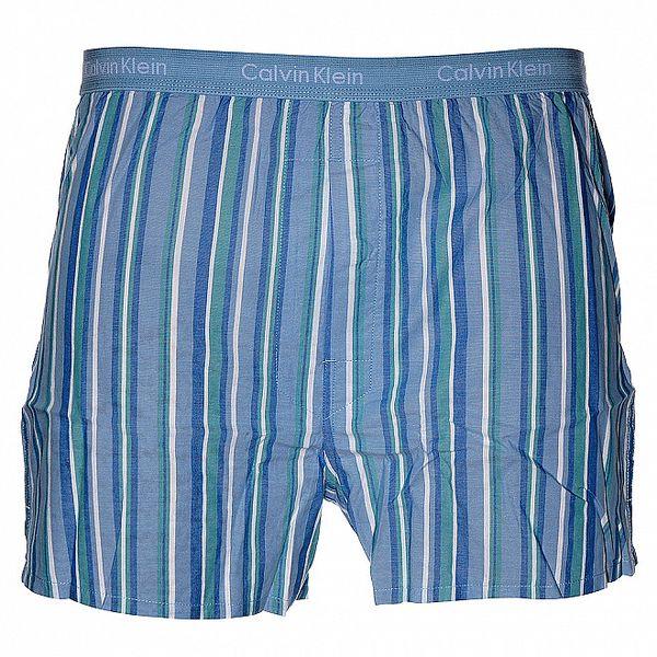 Pánské světle modré trenýrky Calvin Klein s barevnými proužky