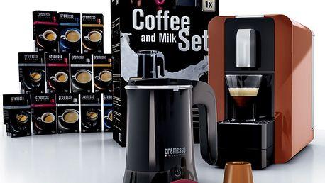 Pro milovníky kávy! Výhodný set Espresso Cremesso Coffee. Napěňovač, 192 kapslí, značkový espresovač!