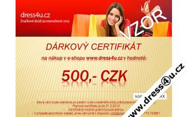 Dárkový certifikát na 500 Kč při nákupu v eshopu www.dress4u.cz