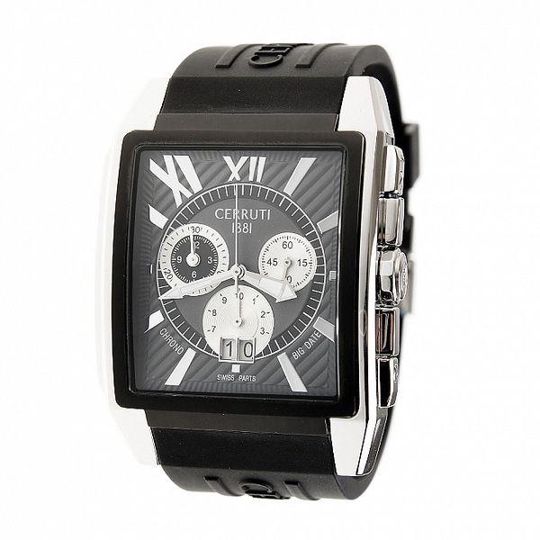 Pánské černo-stříbrné ocelové hodinky Cerruti 1881 s černým pryžovým páskem
