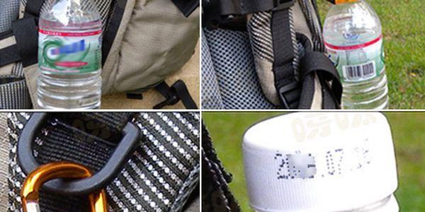 Hliníkový držák na láhev s karabinou a kompasem - 2ks a poštovné ZDARMA! - 339