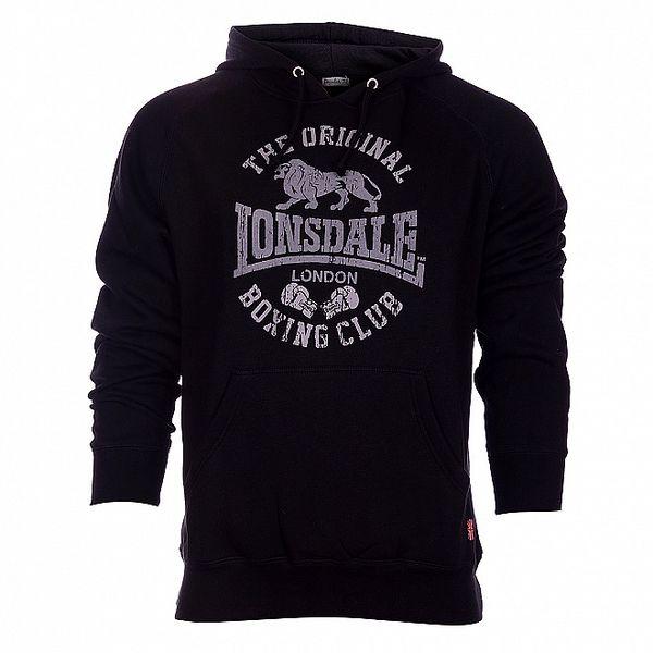 Pánská černá mikina Lonsdale s šedivým potiskem
