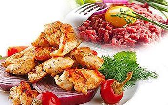 Masová hostina pro jedlíky ! 400 g kuřecích špalíků, 400 g křidélek, 120 g tataráku s topinkami a 100 g rozpékaného hermelínu!