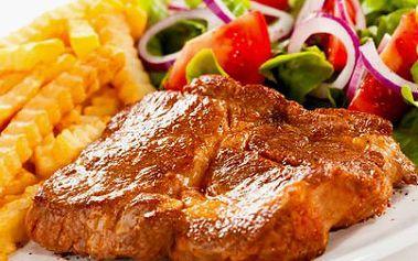 MIX GRILL o 600 gramech! Kuřecí a vepřový steak z krkovice s hranolky a kroketami! Pochutnejte si až VE TŘECH!