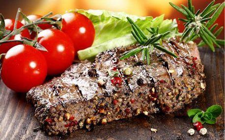 Hody pro mlsouny! 400 g hovězích steaků, hranolky a americké brambory, omáčky!