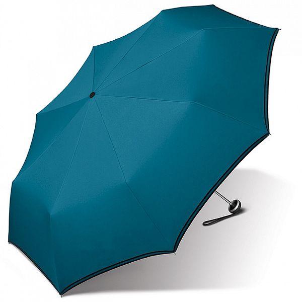 Dámský tyrkysově modrý deštník Esprit s černým lemem
