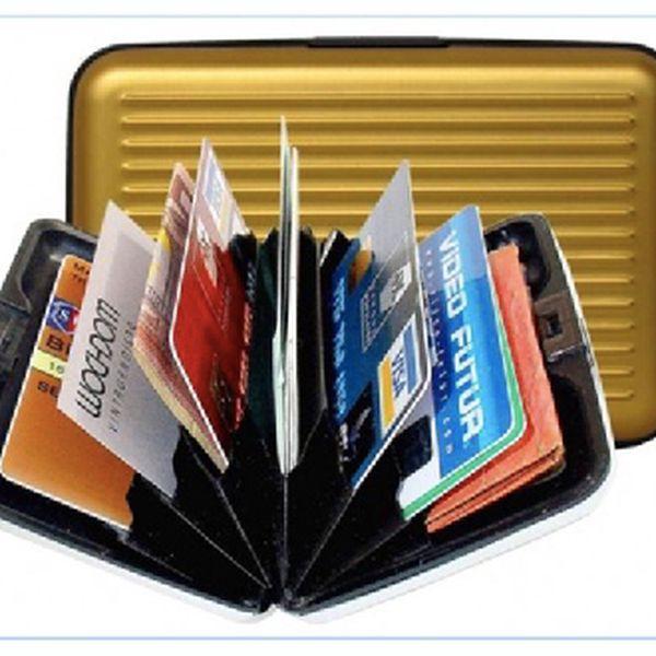 Úžasná hliníková peněženka a dokladovka, pouzdro na paměťové karty, odolný vizitkář...