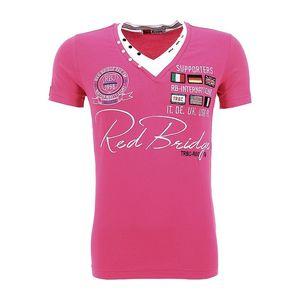 Pánské triko Redbridge fuchsiové výstřih do V