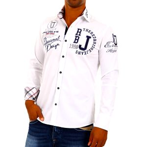 Pánská košile Redbridge bílá s potiskem