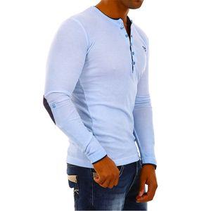 Pánské triko Redbridge R-1646 světle modré dlouhý rukáv