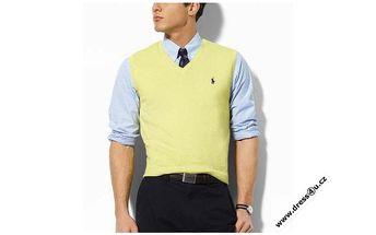 Elegantní pánská vesta Ralph Lauren ve žlutém provedení.