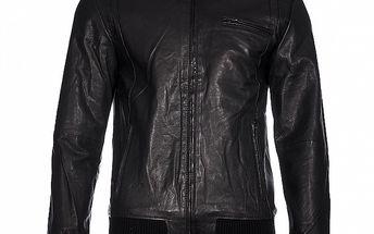 Pánská černá kožená bunda Selected