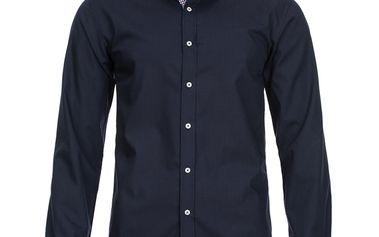Pánská košile Selected tmavě modrá kostičkovaný lem