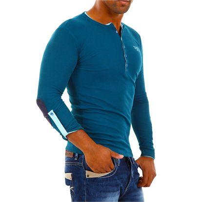 Pánské triko Redbridge tmavě tyrkysové dlouhý rukáv