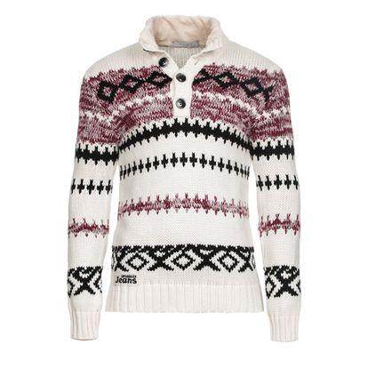 Pánský svetr Cipo & Baxx bílý se vzorem