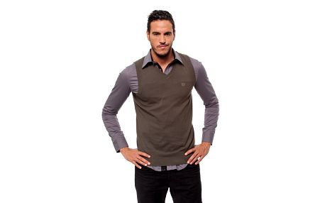 Pánská tmavě šedá pletená vesta Bendorff