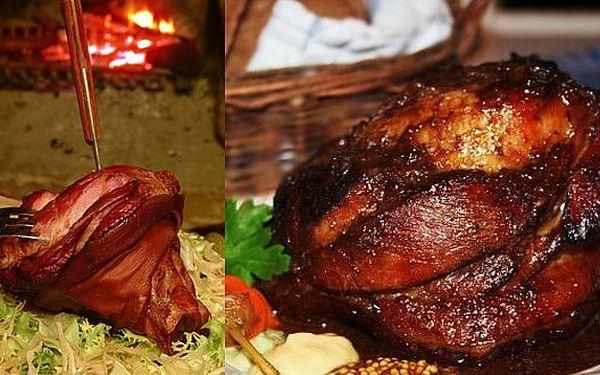 155 Kč za PEČENÉ VEPŘOVÉ KOLENO na černém pivu, podávané s pěti druhy koření, hořčicí a čerstvým chlebem.