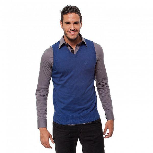 Pánská modrá pletená vesta Bendorff