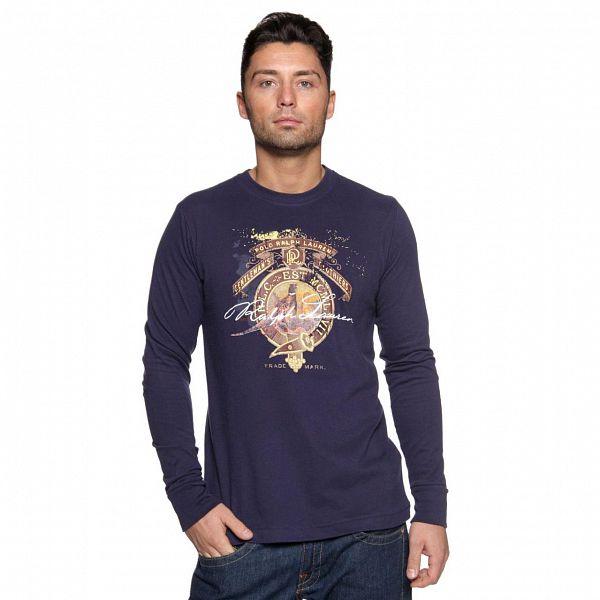 Pánské temně modré tričko s barevným potiskem a dlouhým rukávem