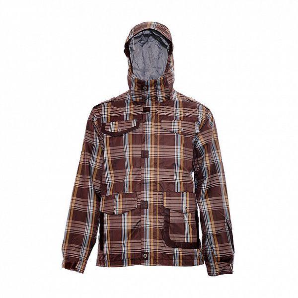 Pánská zimní bunda značky Nugget v čokoládově hnědé barvě se vzorem