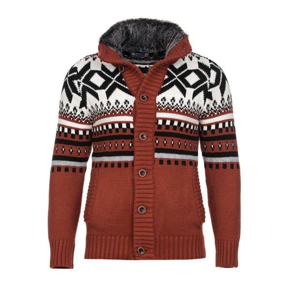 Pánský pletený svetr Carisma cihlový se vzorem