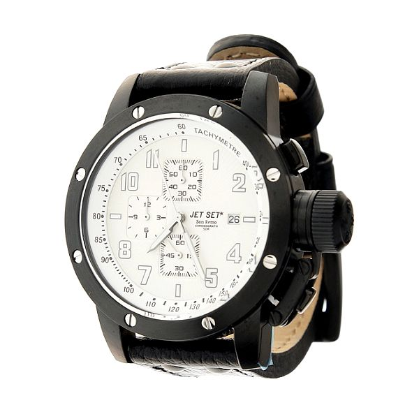 Pánské černé ocelové hodinky Jet Set s černým koženým řemínkem
