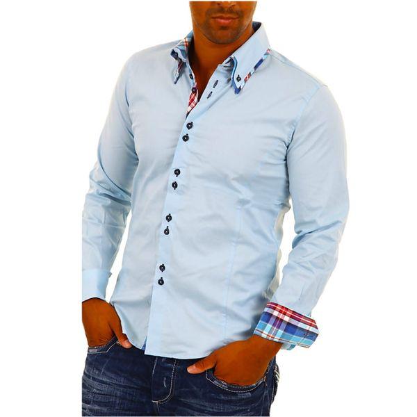 Pánská košile Carisma bledě modrá kostičkovaný lem