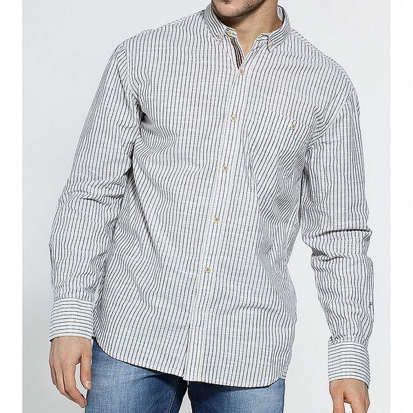 Dámská světle šedá proužkovaná košile French Connection