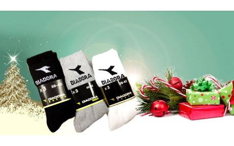 9 párů značkových PONOŽEK DIADORA za 199 Kč! Ponožky pod vánočním stromečkem prostě nesmí chybět :-) Možnost osobního odběru ZDARMA a sleva 58%!