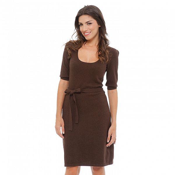 Dámské tmavě hnědé úpletové šaty Tommy Hilfiger