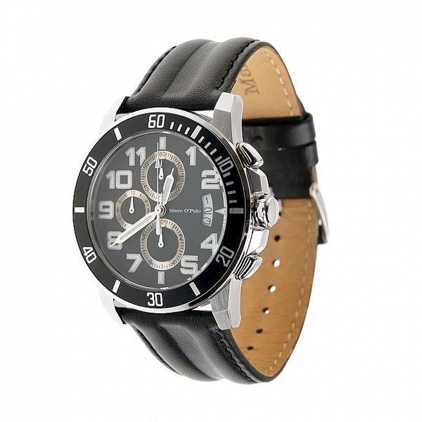 Hodinky Marc O´Polo s černým koženým řemínkem a chronografem