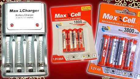 Nabíjacie tužkové batérie MaxXCell a turbo nabíjačka MaxXCharger.