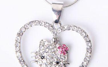 Sada postříbřených šperků s motivy HELLO KITTY – řetízek s přívěskem, náušnice a prstýnek s kamínky! Cena včetně poštovného