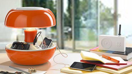 Oživte váš byt či kanceláriu. Dizajnové stolové svietidlo Joyo s odkladacím priestorom a funkciou nabíjačky.